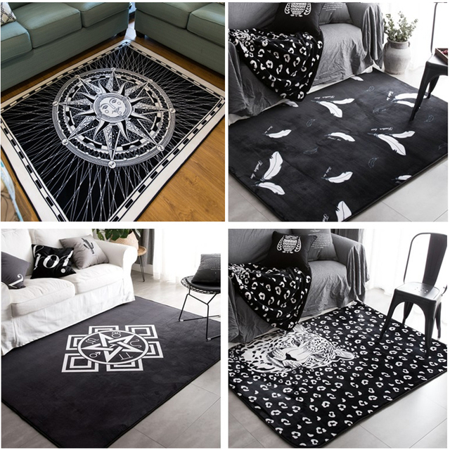 Good Fashion White Black Sun Leopard Living Room Bedroom Decorative Carpet Area  Rug Bathroom Floor Door Yoga