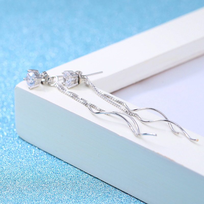 100 925 sterling silver fashion shiny crystal female drop earrings women jewelry wholesale wedding gift drop shipping in Drop Earrings from Jewelry Accessories