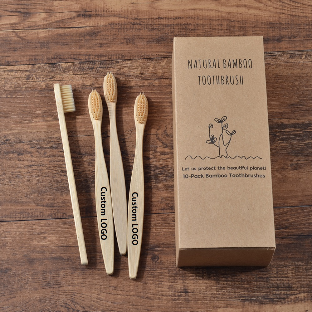 Custom LOGO 300-Pack Soft Bristles Toothbrush  Bamboo Toothbrush Cepillo Dientes Natural Eco Bamboo Fibre Bamboo Toothbrush