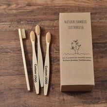 Niestandardowe LOGO 300 Pack miękkie włosie szczoteczki do zębów szczoteczka bambusowa cepillo dientes Natural Eco z włókna bambusowego szczoteczka bambusowa