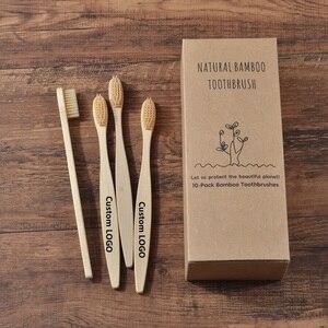 Image 1 - Niestandardowe LOGO 300 Pack miękkie włosie szczoteczki do zębów szczoteczka bambusowa cepillo dientes Natural Eco z włókna bambusowego szczoteczka bambusowa