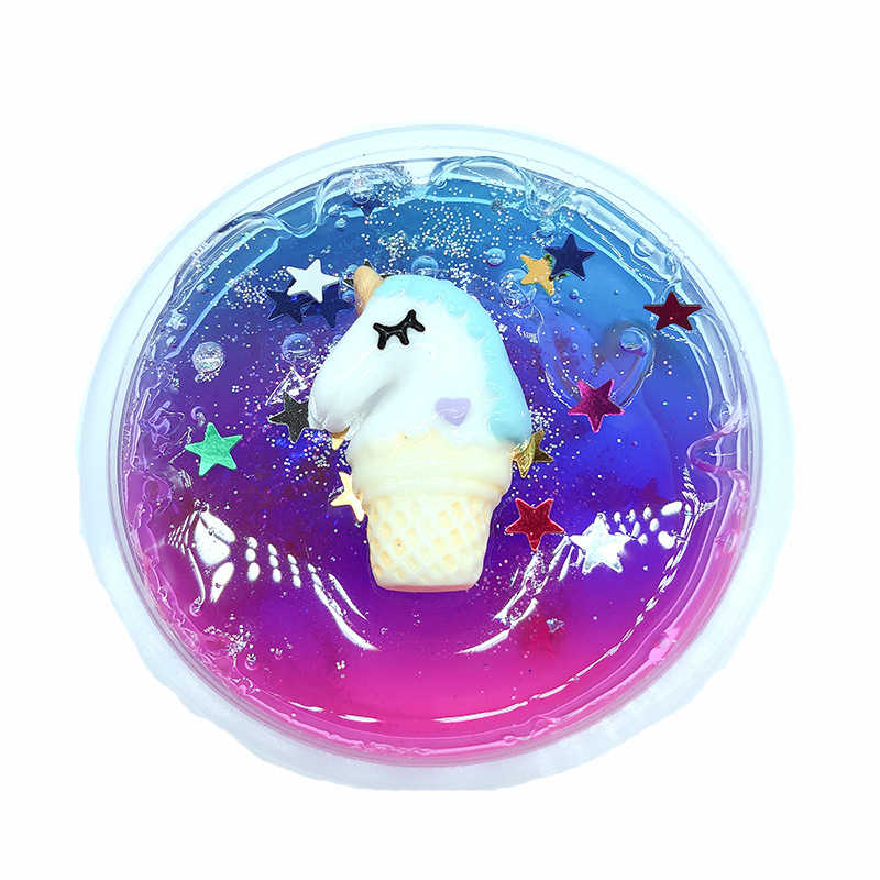 Unicorn Slime Clear Modeling Clay Colorful Stars Slime Crystal Mud Starry DIY Antistress Toys for Children Education