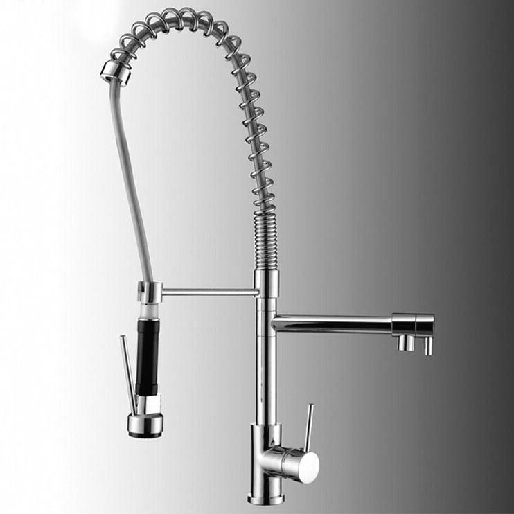 Luxury Pull Out Spray Kitchen Faucet Mixer Tap Deck Mounted Chrome Finish 5 Pieces Lot X8056K1