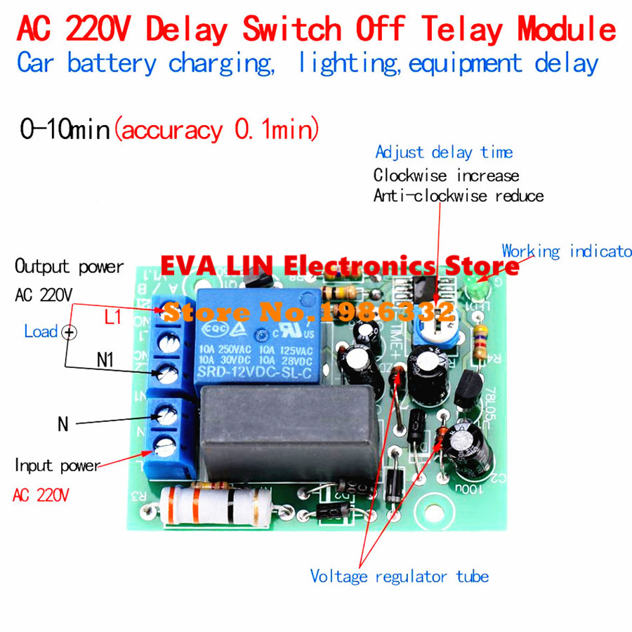 Ws16 Ac220v 230v 240v Delay Time Timing Relay Module Timer Wiring Diagram For Off On Lights Turn 0 10 Minutes Accuracy 01min Adjustable Switch Plc In Relays From Home Improvement