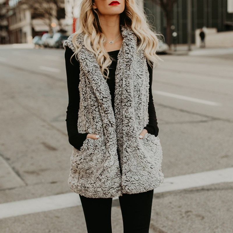 2018 Women Faux Fur Vest Hooded Coats Gilet Winter Warm Thick Casual Sleeveless Jacket Ladies Hoodies Grey Waistcoat Jumper Tops