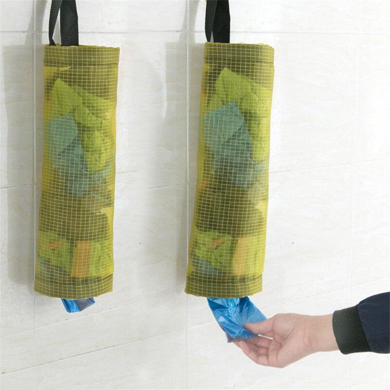 Plastic Bag Holder Dispenser Hanging Storage Trash Garbage Bag Kitchen Organizer