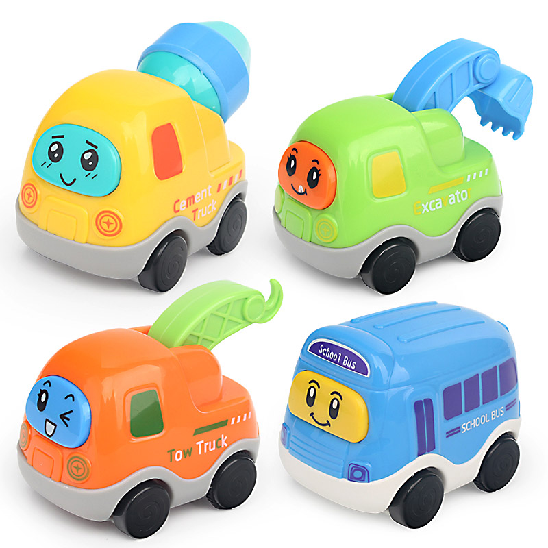 Die-cast Toy Car for Kids Cartoon Pull Back Model Car Transporter for Child Baby Educational Mini Wooden Bus Truck Train Tractor