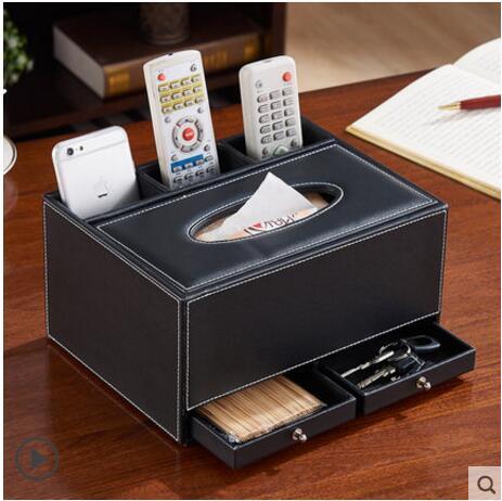 Boîte de rangement multifonction en bois boîte à mouchoirs en bois organisateur de table boîte en bois pour organisateur de stockage à la maison PZJH014