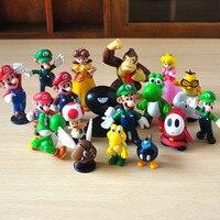 18 unids/set 3.5-5.5 cm Super Mario Acción FigureToy Cartoon Anime Mini Super Mario Bros PVC Juguetes Regalos de Cumpleaños