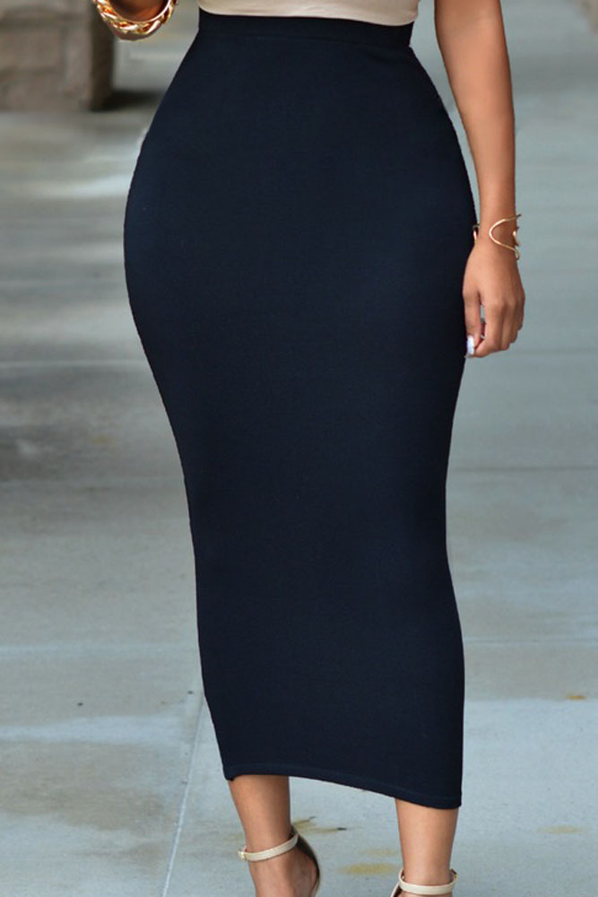 solid black high waisted bodycon maxi skirt lc71188 cheap
