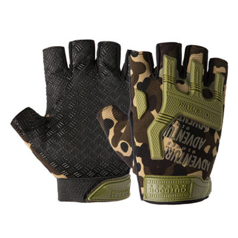 2019 Men Outdoor Short Fingerless Gloves Soft Rubber Protective Pad Sports Army Military Tactical Airsoft Shooting Hunting