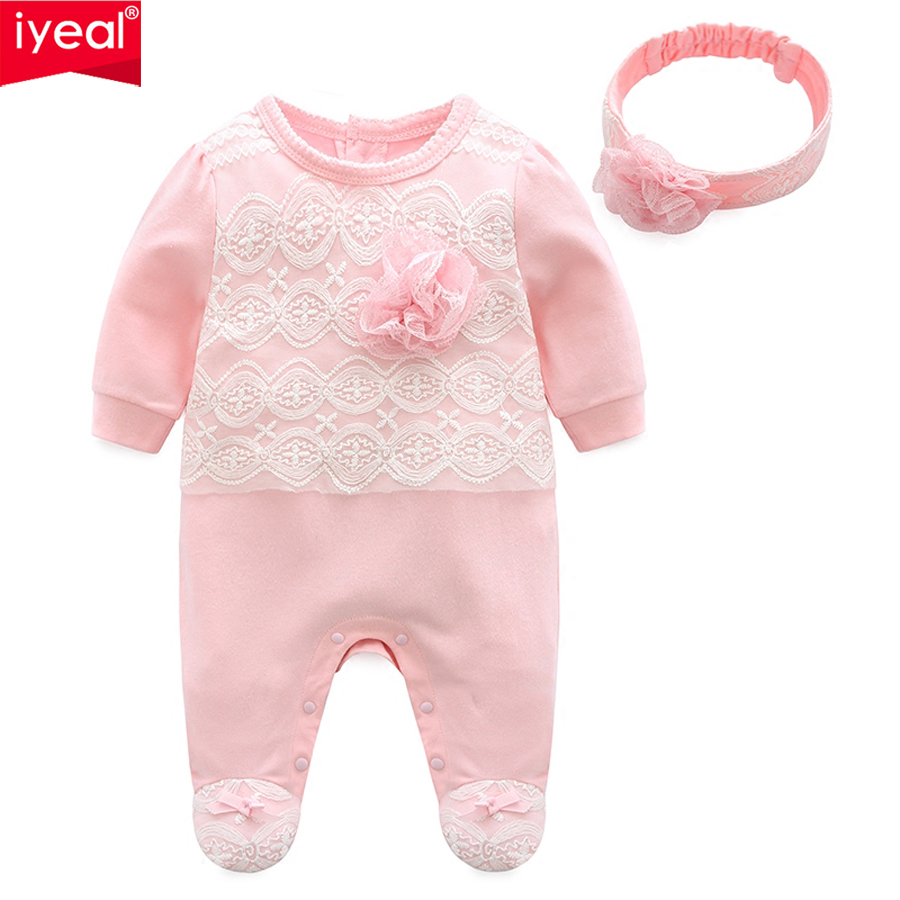 IYEAL Newest 2018 Princess Newborn Baby Girl Romper Lace Cotton Long Sleeve Infant Jumpsuit + Headband Toddler Outfits for 0-12M minnie newborn baby girl clothes gold ruffle infant bodysuit bloomer headband set winter jumpsuit toddler birthday outfits