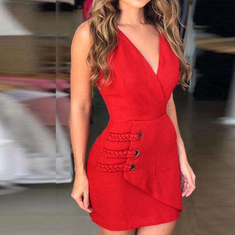 2019 Women Red Deep V Neck Eyelet & Braided Detail Wrap Dress Summer Elegant Slim Backless Party Dresses