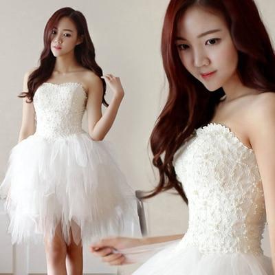 Mode belle fille 2016 nouvelle-Coréen Princesse Mariée court paragraphe demoiselle d'honneur robe bretelles dentelle robe de mariée