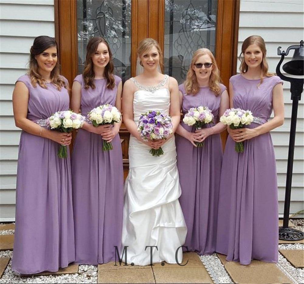 Light Purple A Line   Bridesmaid     Dresses   Floor Length Beaded Belts Scalloped Neck Long Elegant Wedding Party   Dress   Cheap