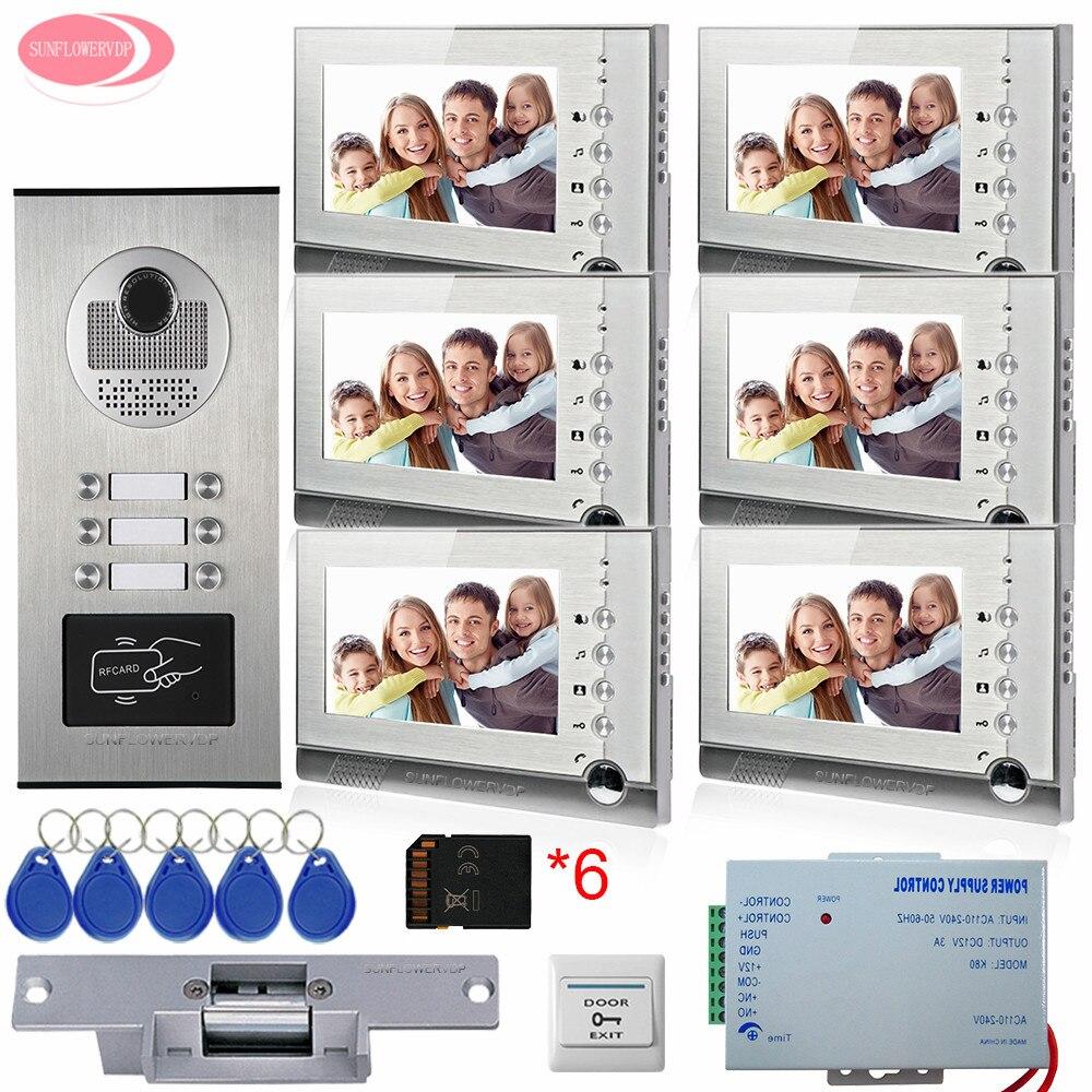 Para 6 apartamentos Vídeo Porteiro Com Gravação De Vídeo Livre 8 GB Cartões SD + 5 Chaves Câmera RFID Da Porta de Acesso Com Greve Elétrica Trava