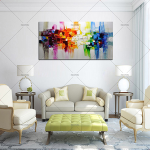 Image 4 - Kerst Abstracte Moderne Landschap Handgemaakte Kleurrijke Abstracte Stijl Dikke Olieverf Op Canvas Voor Home Decoratieve Wall Art