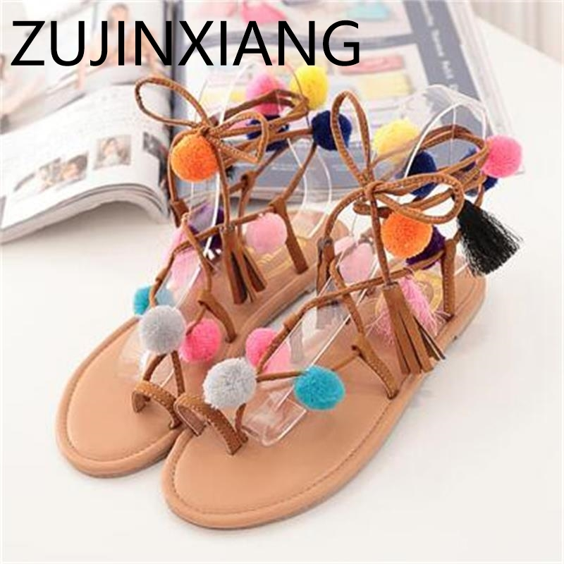 Ethnic Bohemian Summer Woman Pompon Flat Sandals Gladiator Roman Strappy Ankle Boots Tassel Shoes Free Shipping set cable tv f head do line tool extrusion f joints 75 5 stripping knife and 10 metric f head connector plug boosters