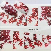 1 Pcs Red Maple Leaves Acrylic Powder Crystal Design False Tips Nails Art Builder For Manicure Acrylic Powder for Nail(China)
