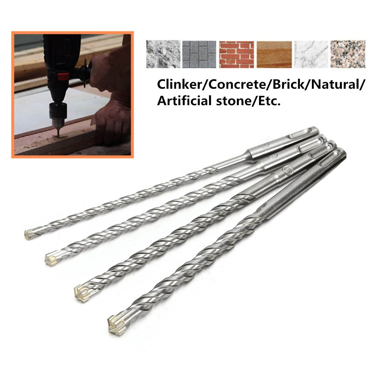 11cm Concrete Drill Bit Double SDS Plus Slot Masonry Hammer Head Tool 5/6/8/10mm High Speed White Steel Wrench For Electric Dril