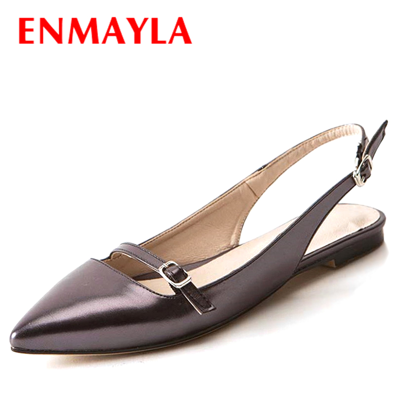 Airfour Flats Shoes Big Sizes 33-43 Spring/Summer Sexy Woman Pointed Toe Buckle New Women Sandals