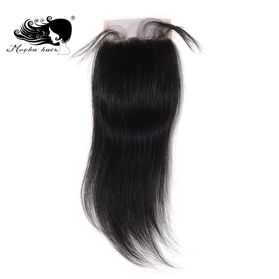 Mocha Hair Brazilian Virgin Straight Hair Lace Closure 4 X 4 Free Part 8inch 18inch