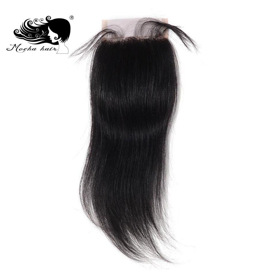 Mocha Hair бразильский Реми прямые волосы Синтетическое закрытие шнурка волос 4 x 4 Бесплатный Часть 8 дюймов-18 дюймов
