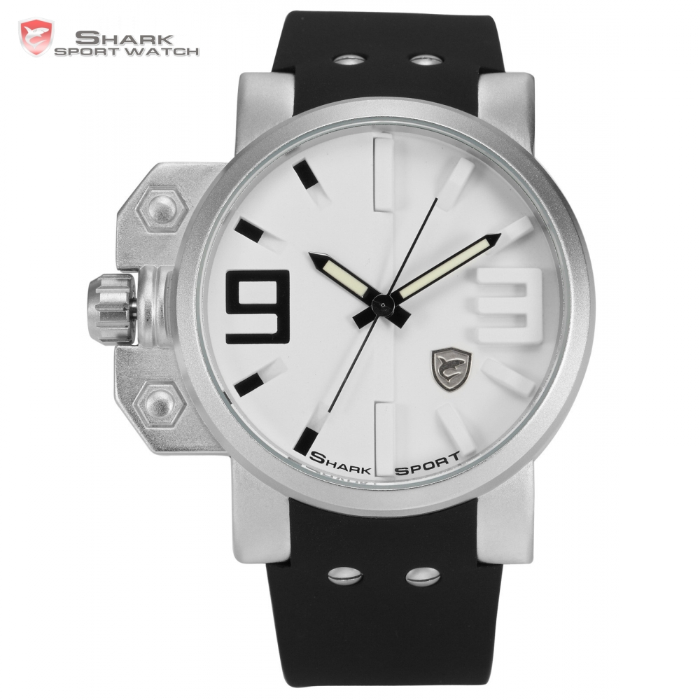Salmon Shark Sport Watch Stainless Steel Silver Case White 3D Dial Round Mens Luminous Silicone Strap