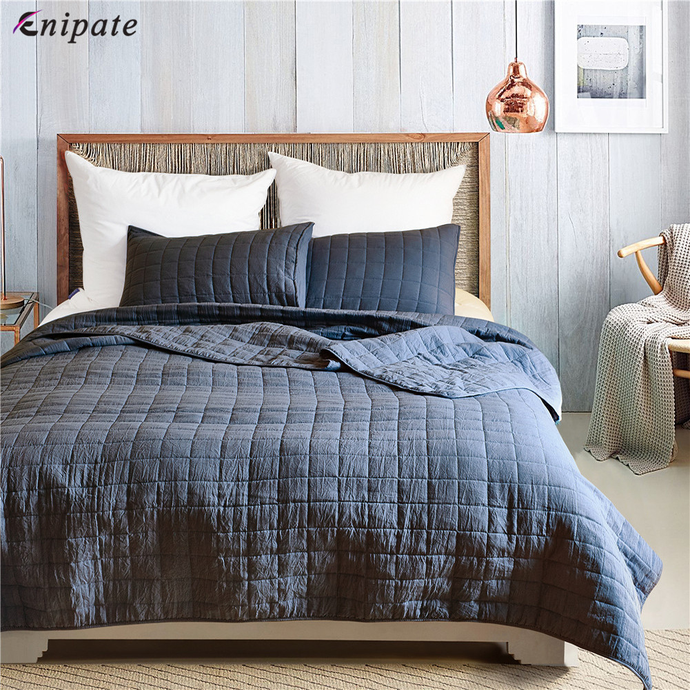 Enipate 3Pcs Luxury Bedspread Quilted Coverlet Set Lattice Bed Cover Double Light Weight Summer Quilt Blanket