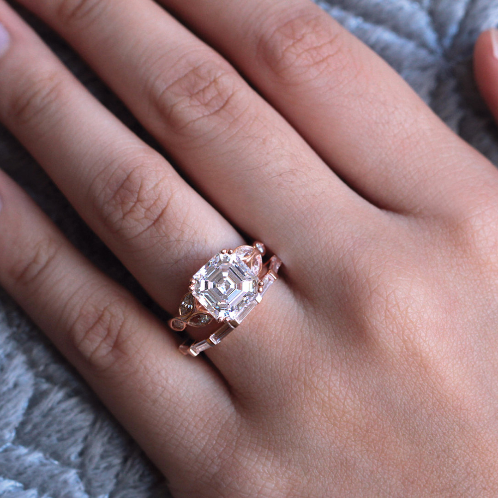 3.0CT 8X8mm Asscher Cut Moissanite Ring Sets Solid 14k Rose Gold ...