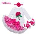 1 года Детская Одежда Устанавливает Девушки Белый Комбинезон Роза Красная точка Пачка 4 Шт. Наборы Мода Новорожденной Девочки Одежда YK & Loving Новые