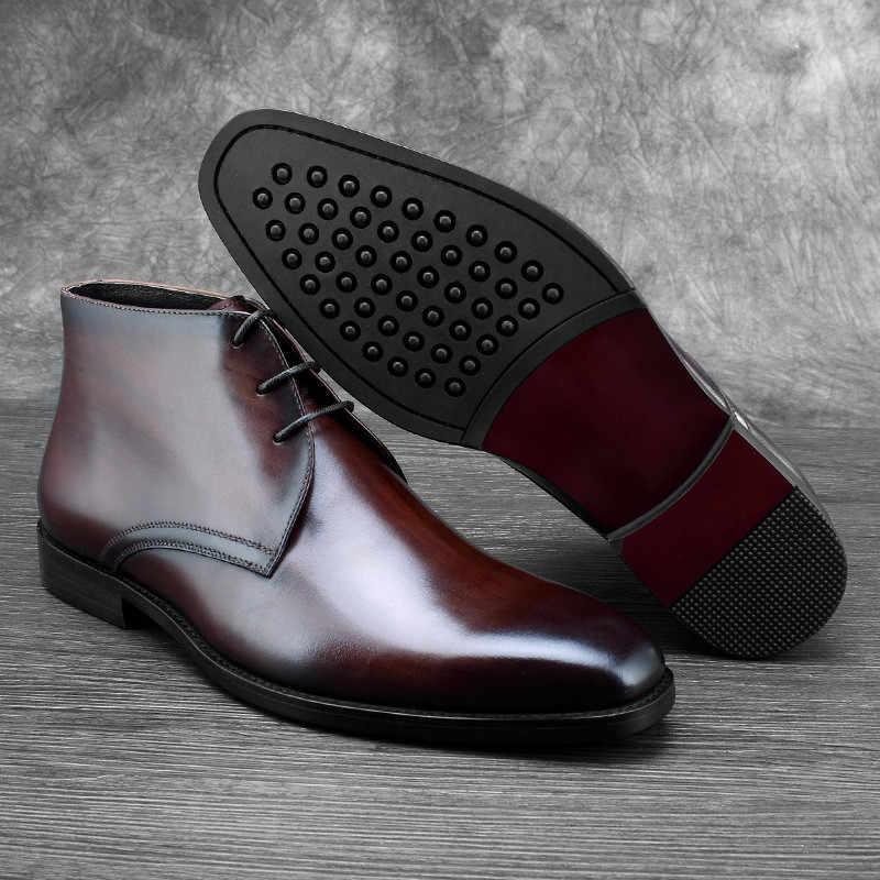 Sıcak Yün Astarı Siyah/Tan Erkek yarım çizmeler Elbise Botları Hakiki Deri Kışlık Botlar Sosyal Ayakkabı Adam erkek resmi ayakkabı