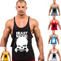 Estilo europa Crânio Masculino Grande Divisão Colete Exercício da Aptidão Camisa Sem Mangas Singlet Musculação Top Homens Tanque Colete Solto