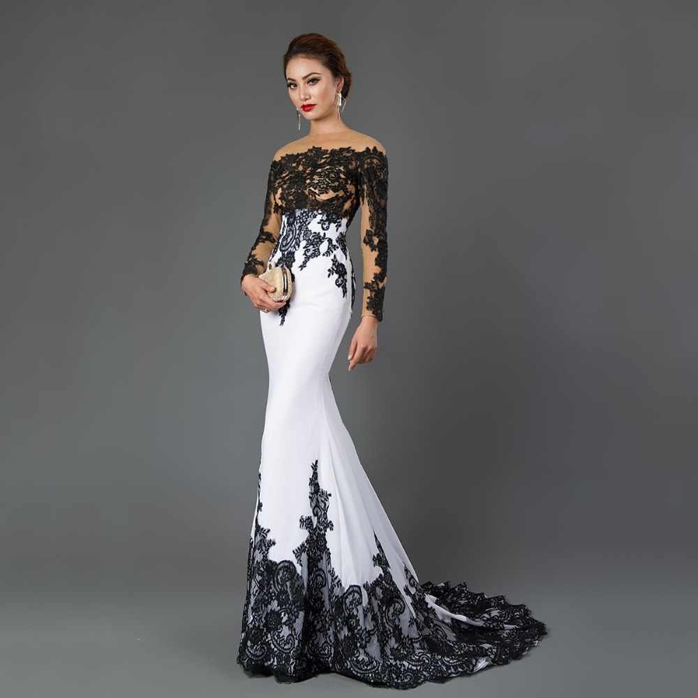 247549f5bec CAZDZY с длинным рукавом Русалка Вечерние платья с аппликациями черный  кружево развертки поезд торжественное платье для
