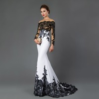 CAZDZY Long Sleeve Mermaid Evening Dresses Appliques black lace sweep train formal dress for Women