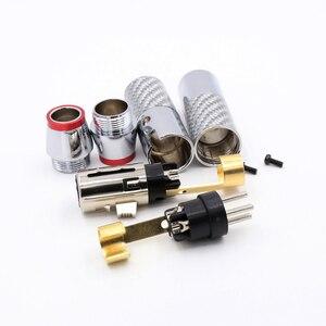 Image 5 - 2 סטים/4 יחידות XLR זכר נקבה מחבר 3 פין פחמן סיבי XLR מיקרופון אודיו מחבר תקע