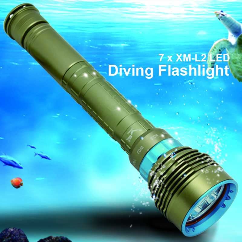 14000LM 7x XM-L2 LED Diving Flashlight High Power Dive Torch Light Underwater Professional Scuba Flashlights Lamp by 26650/18650 100m underwater diving flashlight led scuba flashlights light torch diver xm l2 use 18650 or 26650 rechargeable batteries