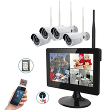 "9"" Touch Screen 4CH Full 720P HD Digital Wireless Home Surveillance IR Systems Built-In HDD Slot & 4x 720P Camera 2.4Ghz(China)"
