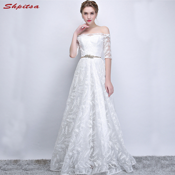 White Lace Mother of the Bride Dresses for Weddings with Sleeves Off Shoulder A Line Evening Groom Godmother Dresses
