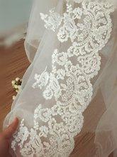 5 yards Beautiful Bridal Veil Alencon Lace Trim , Retro Mesh Vintage Embroidered Patch Motif