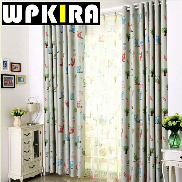Lovely Cartoon Owl Curtains Living Room Children Curtains Decoration Pour  Salon Blue Curtains Kids Baby Room