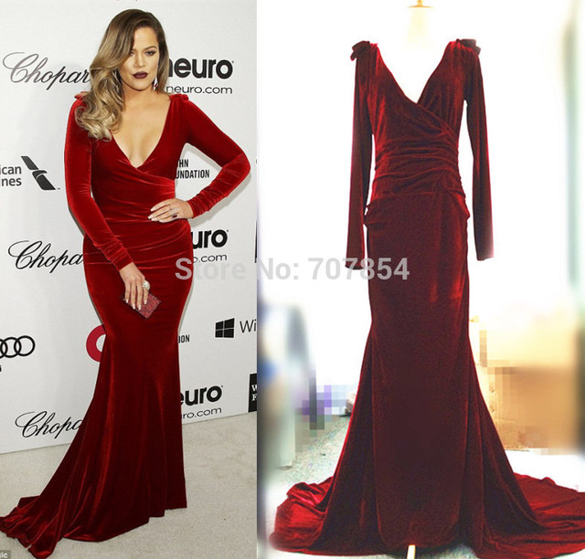 Celebrity Inspired Prom Dresses Khloe Kardashian Burgundy Velvet Mermaid Evening Dress Elton John S Oscars 2017