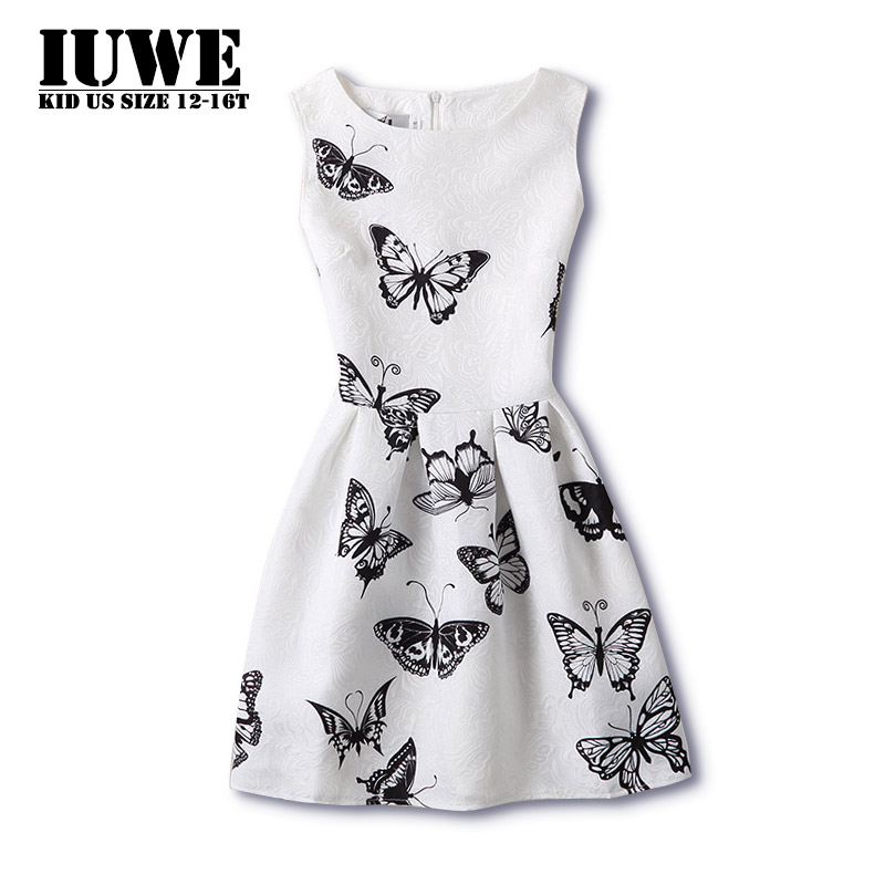 2017 Dress Girls White Black Butterfly Pattern Clothing Dresses Teenage Party 12 Robe Fille - IUWE store