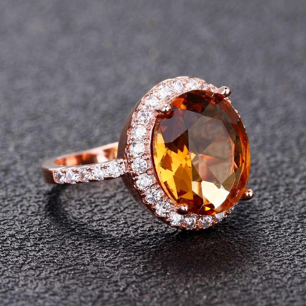 De lujo de alta calidad 925 anillos de plata para las mujeres champán piedras preciosas anillo regalo romántico joyería 10x12 MM tamaño 6-10