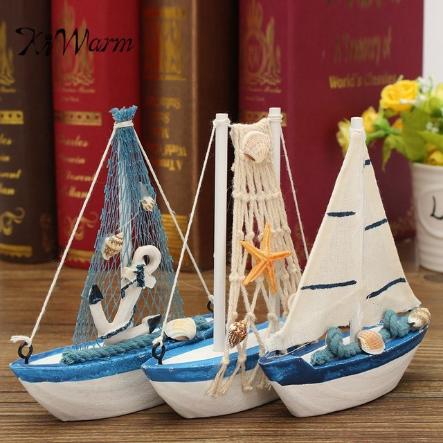 Wooden Mediterranean Style Mini Sailing Boat Model Statues Sculptures for Home Desktop Decor Crafts Birthday Gift