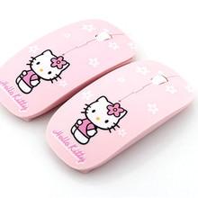 Мультяшная беспроводная мышь, ультратонкая компьютерная мышь hello kitty, 2,4 ГГц, 1200 dpi, оптическая игровая мышь розового цвета
