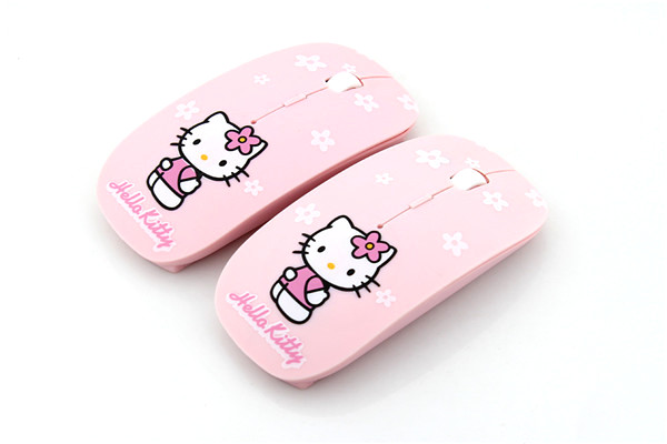 Cartoon Wireless Mouse Ultra Thin Hello Kitty Computer Mouse 2.4GHz 1200DPI Optical Gaming Mouse Mice Pink