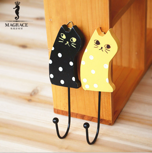 multifuctional cartoon wood cute cat fridge magnets for home kitchen card message tips magnetic. Black Bedroom Furniture Sets. Home Design Ideas