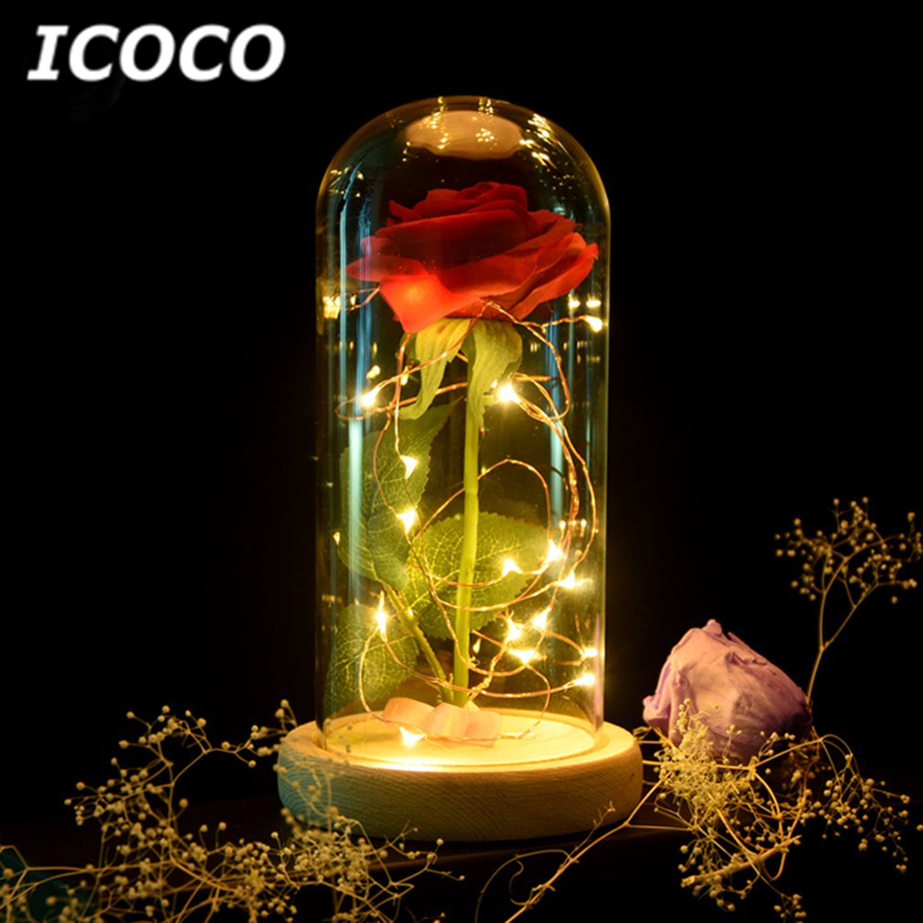 ICOCO Romantic Rose Flower Bottle Lamp String Light for Wedding Party Home Decor Gife for Birthday Festival Drop Shipping Sale