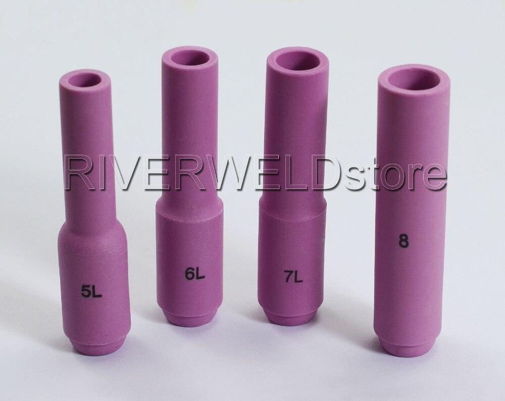 TIG; комплект расходников удлиненные Длинные Алюминиевые сопла для сварки TIG Коллет тела подходит TIG сварочный фонарь PTA DB SR WP 17 18 26 серии, 12PK